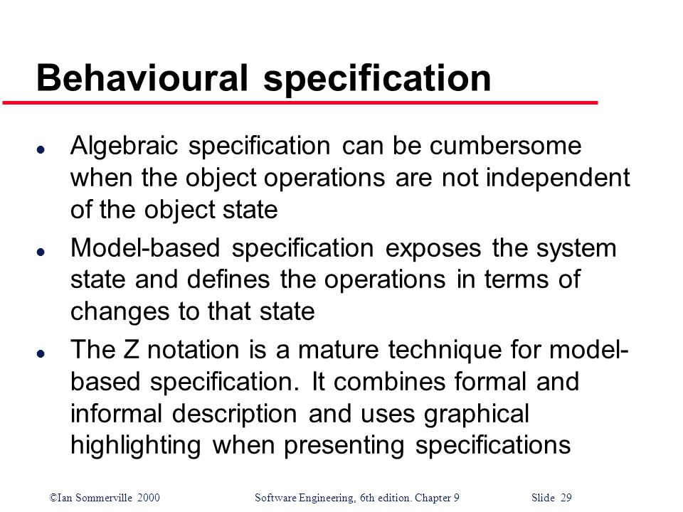 Behavioural specification