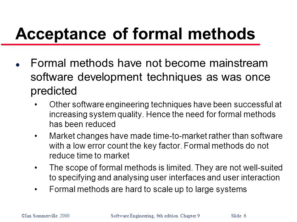 Acceptance of formal methods