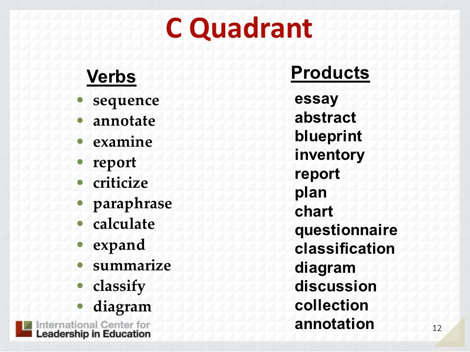 C Quadrant Products Verbs essay abstract blueprint inventory report