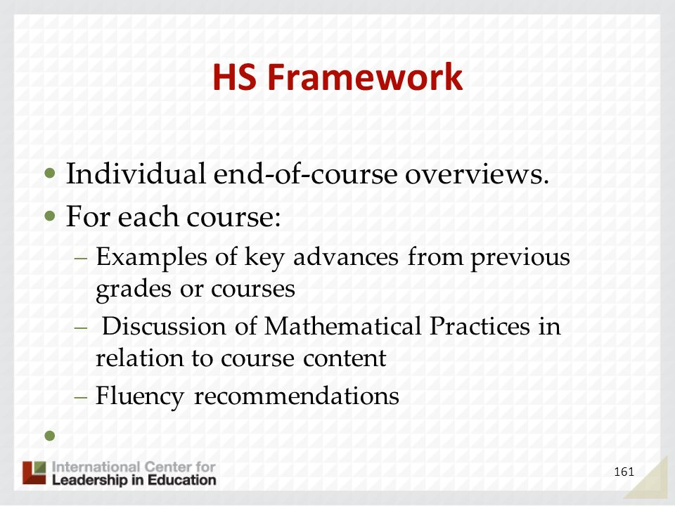 HS Framework Individual end-of-course overviews. For each course: