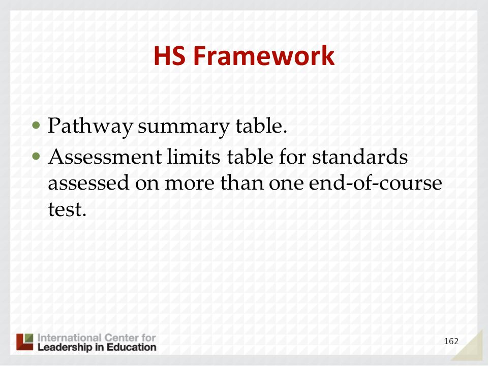 HS Framework Pathway summary table.