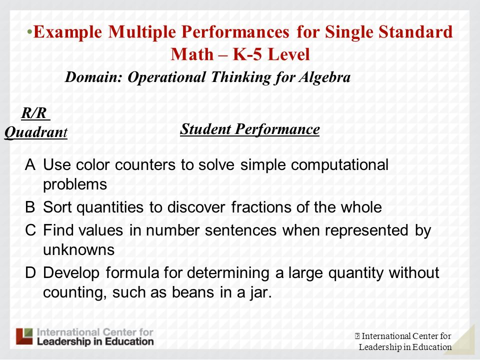 Example Multiple Performances for Single Standard Math – K-5 Level