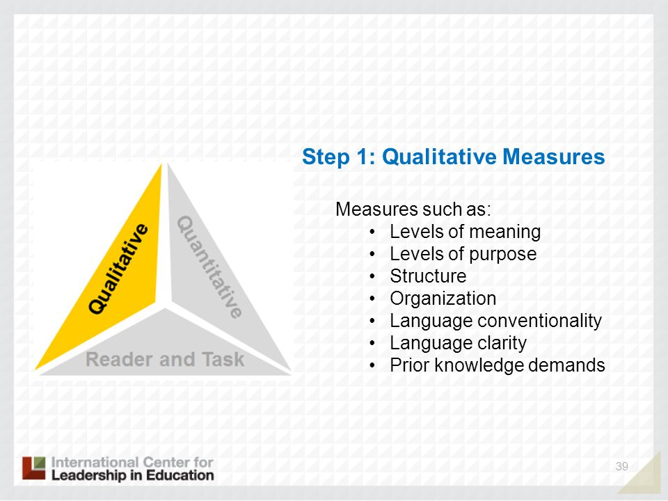 Step 1: Qualitative Measures