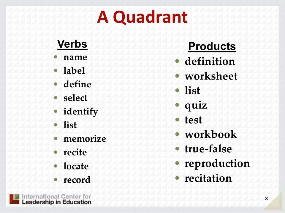 A Quadrant Verbs Products definition worksheet list quiz test workbook