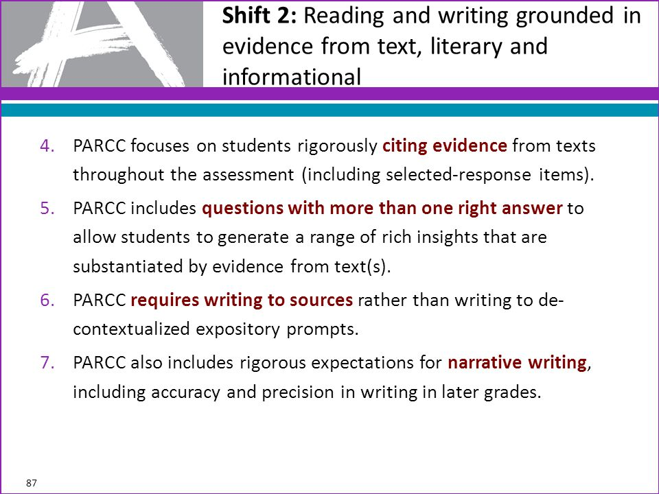 Shift 2: Reading and writing grounded in evidence from text, literary and informational