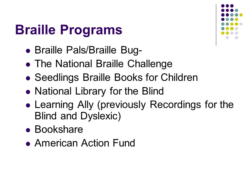 Braille Programs Braille Pals/Braille Bug-
