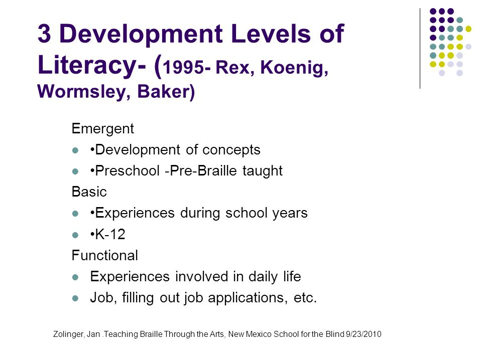 3 Development Levels of Literacy- (1995- Rex, Koenig, Wormsley, Baker)