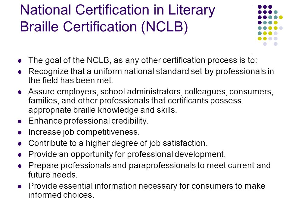 National Certification in Literary Braille Certification (NCLB)