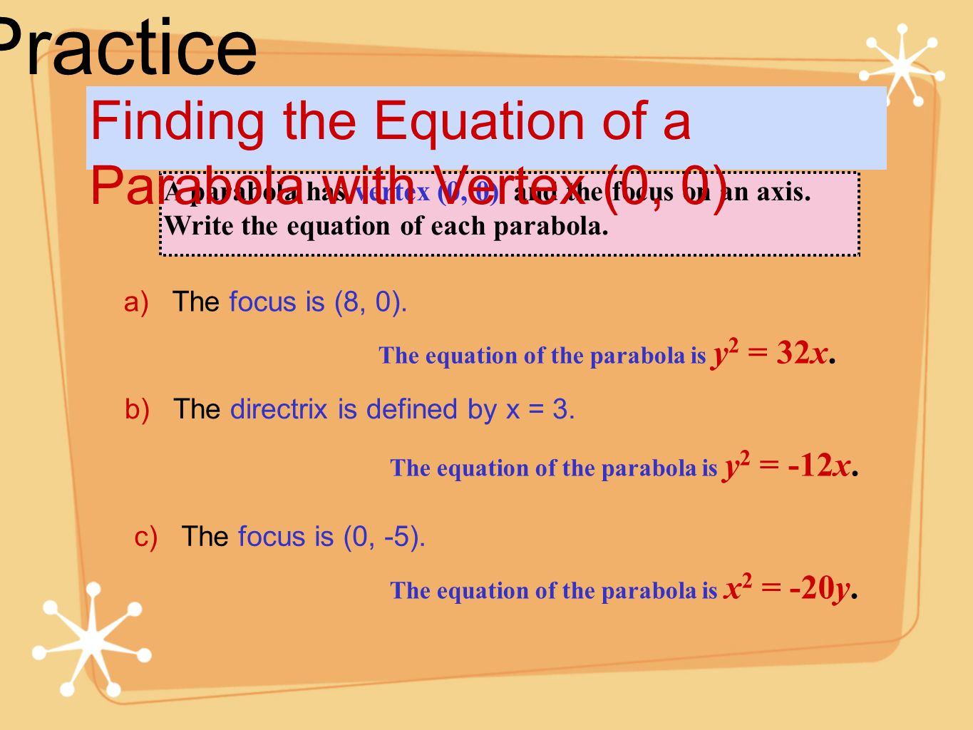 Practice Finding the Equation of a Parabola with Vertex (0, 0)