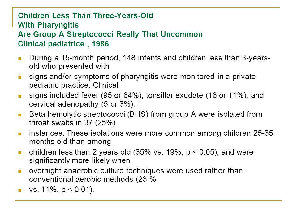 Children Less Than Three-Years-Old With Pharyngitis Are Group A Streptococci Really That Uncommon Clinical pediatrice , 1986