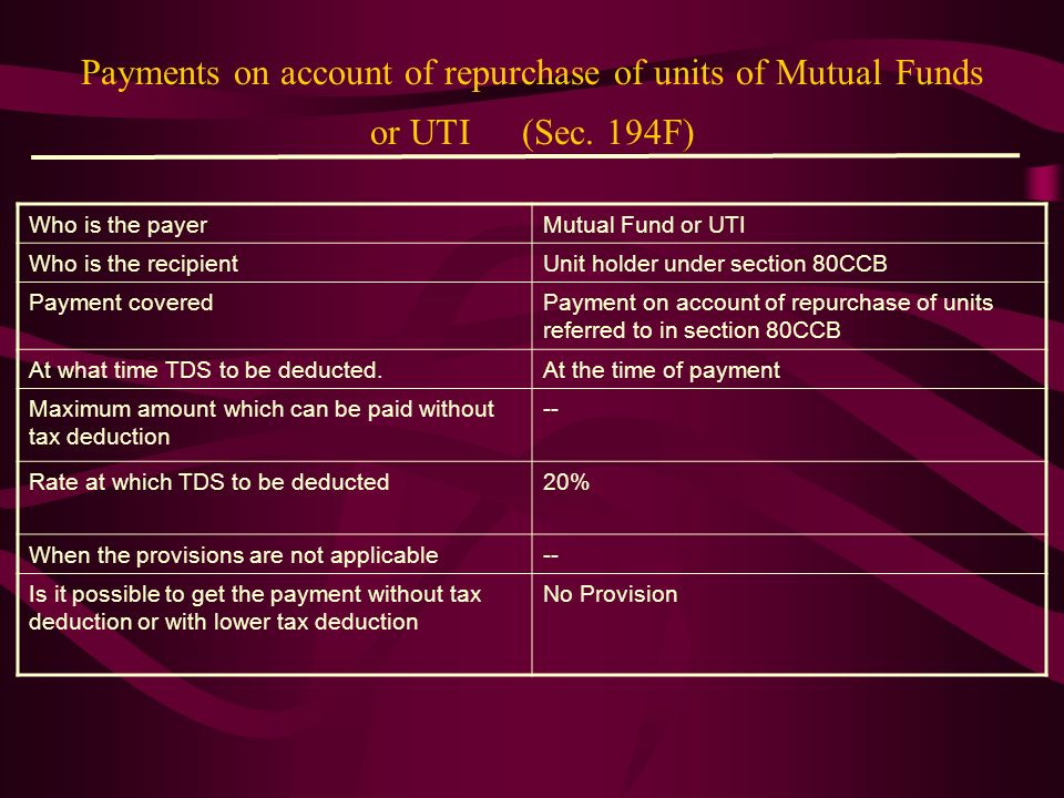 Payments on account of repurchase of units of Mutual Funds or UTI (Sec