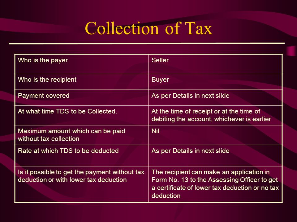 Collection of Tax Who is the payer Seller Who is the recipient Buyer