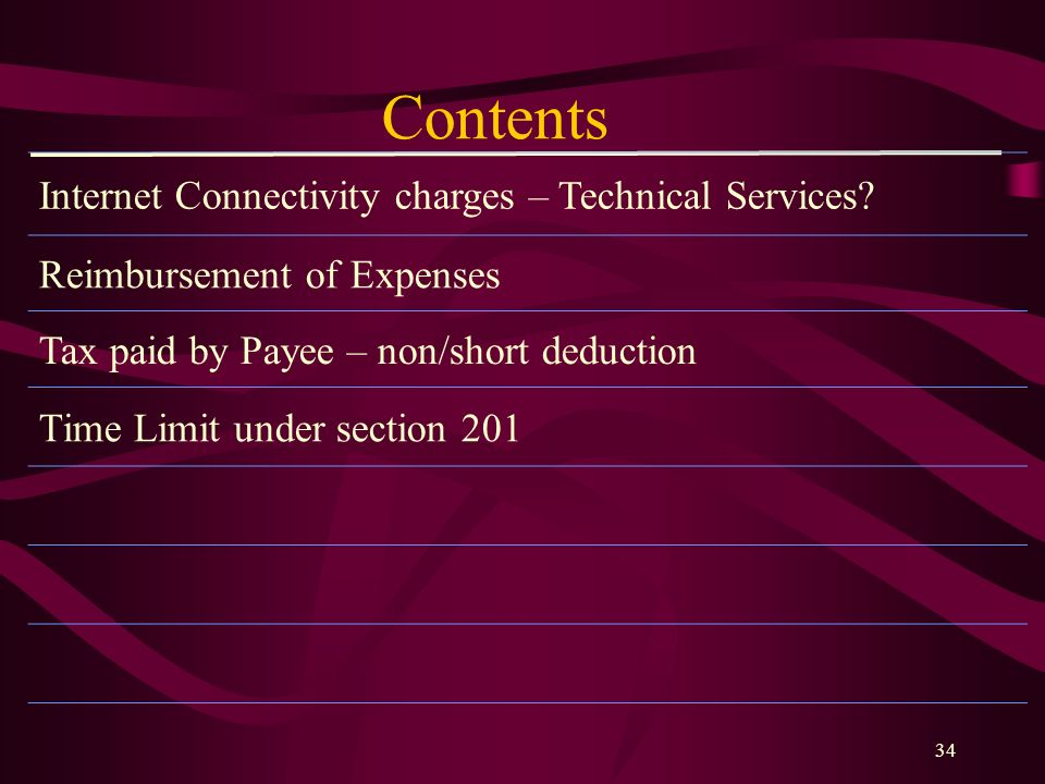 Contents Internet Connectivity charges – Technical Services