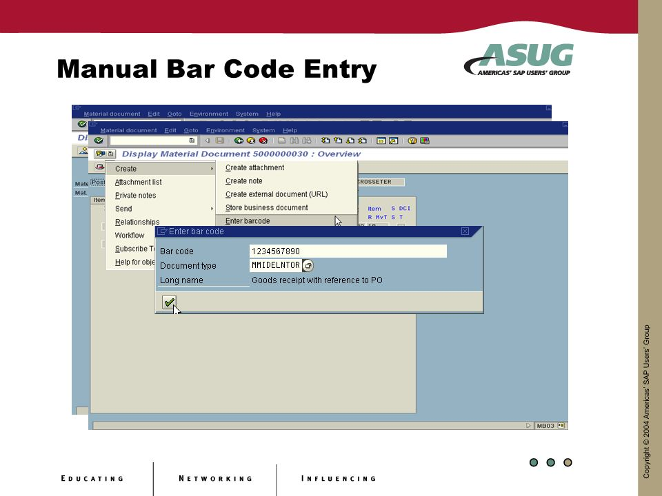 Manual Bar Code Entry
