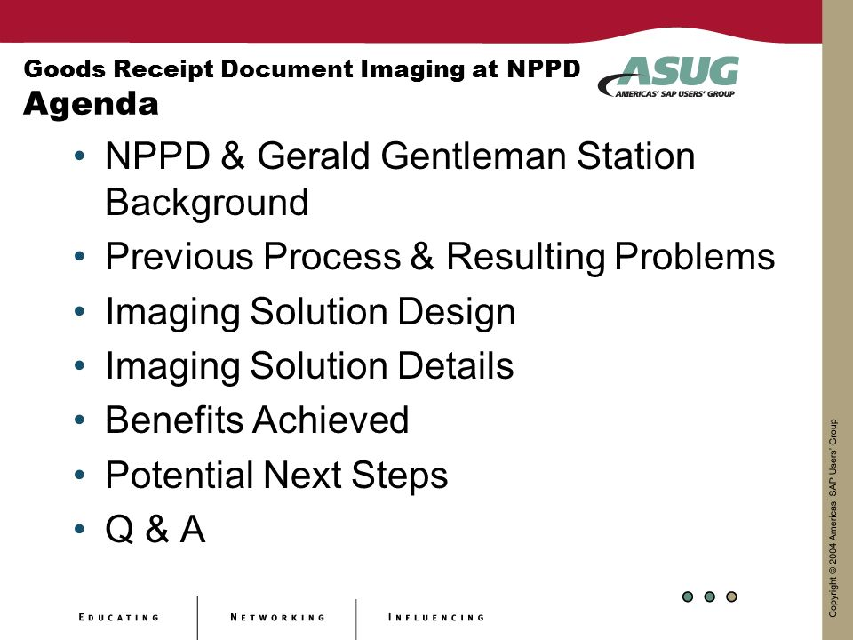 Goods Receipt Document Imaging at NPPD Agenda