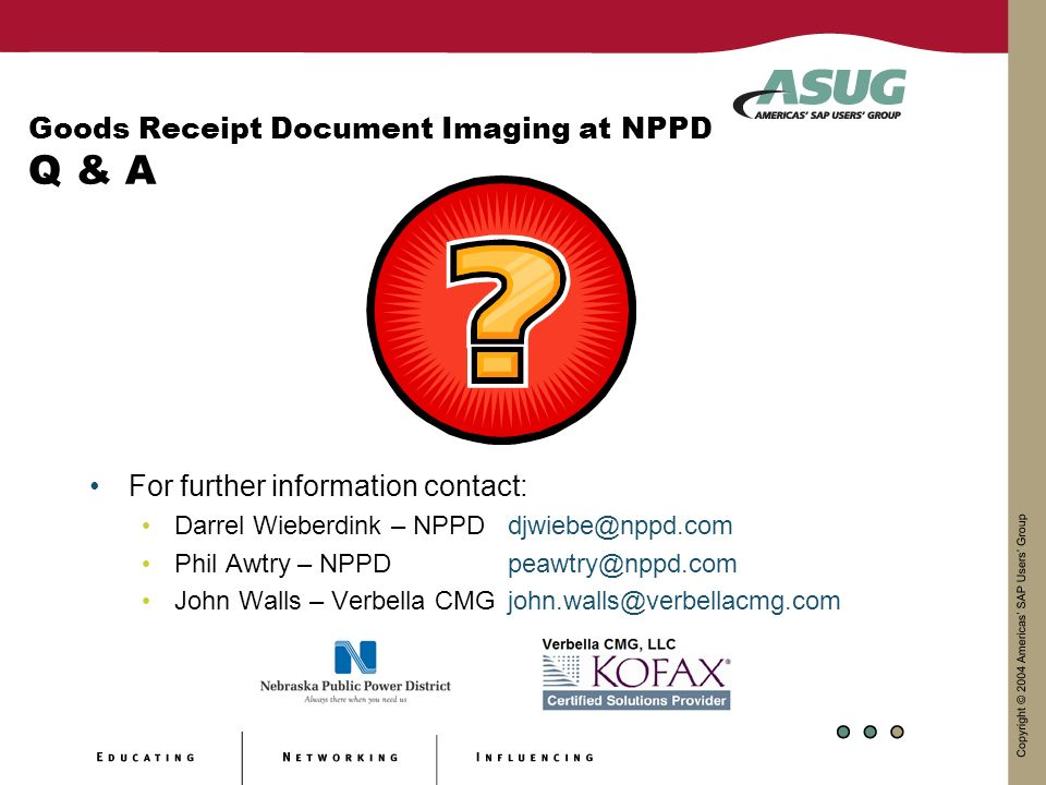Goods Receipt Document Imaging at NPPD Q & A