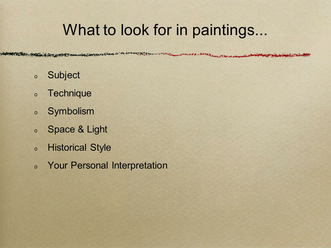 What to look for in paintings...