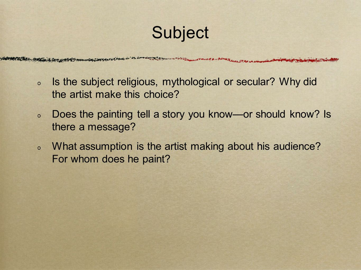 Subject Is the subject religious, mythological or secular Why did the artist make this choice