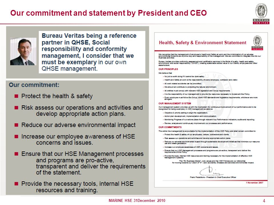 Our commitment and statement by President and CEO