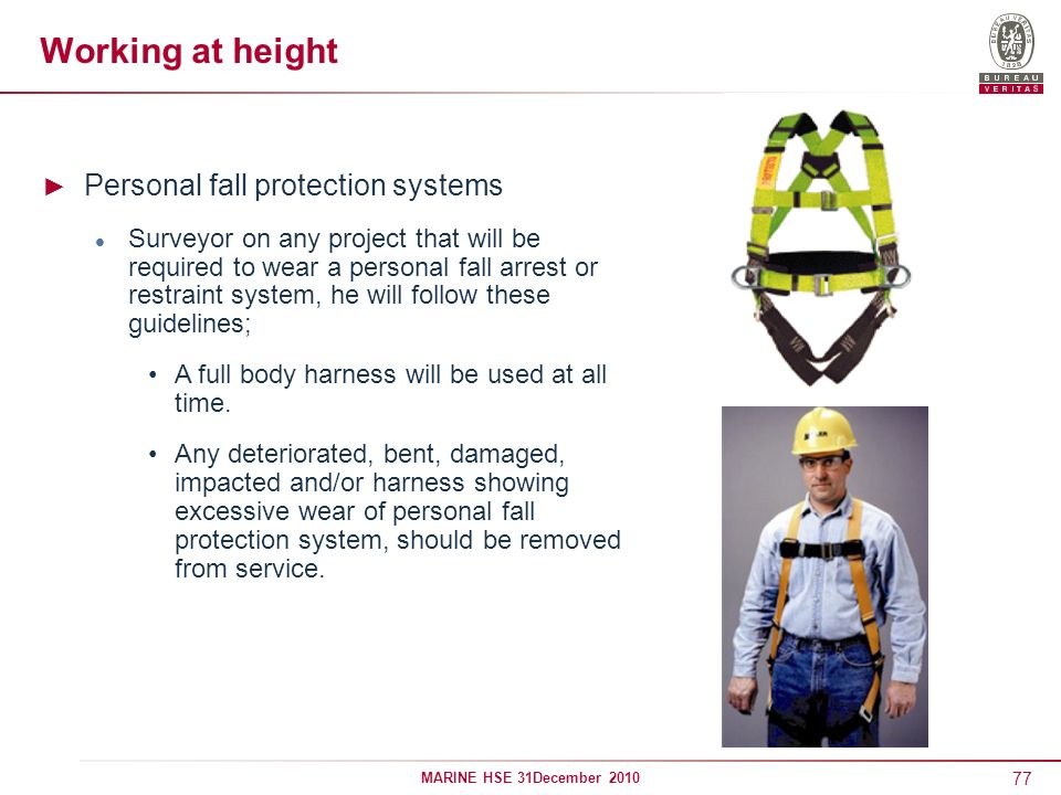 Working at height Personal fall protection systems