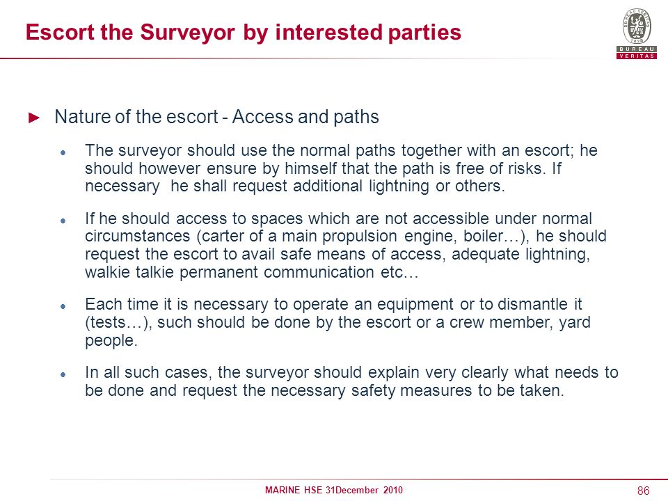 Escort the Surveyor by interested parties