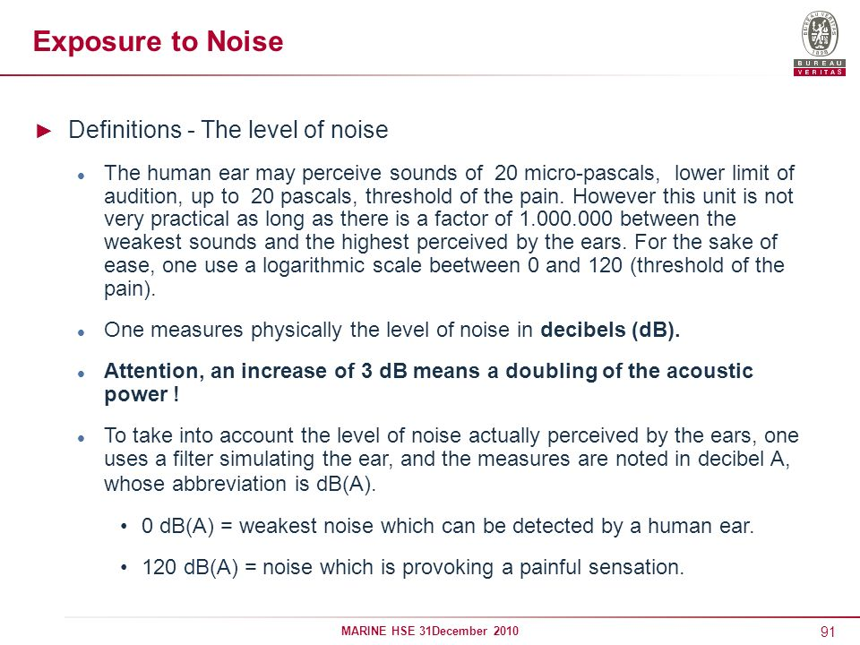 Exposure to Noise Definitions - The level of noise