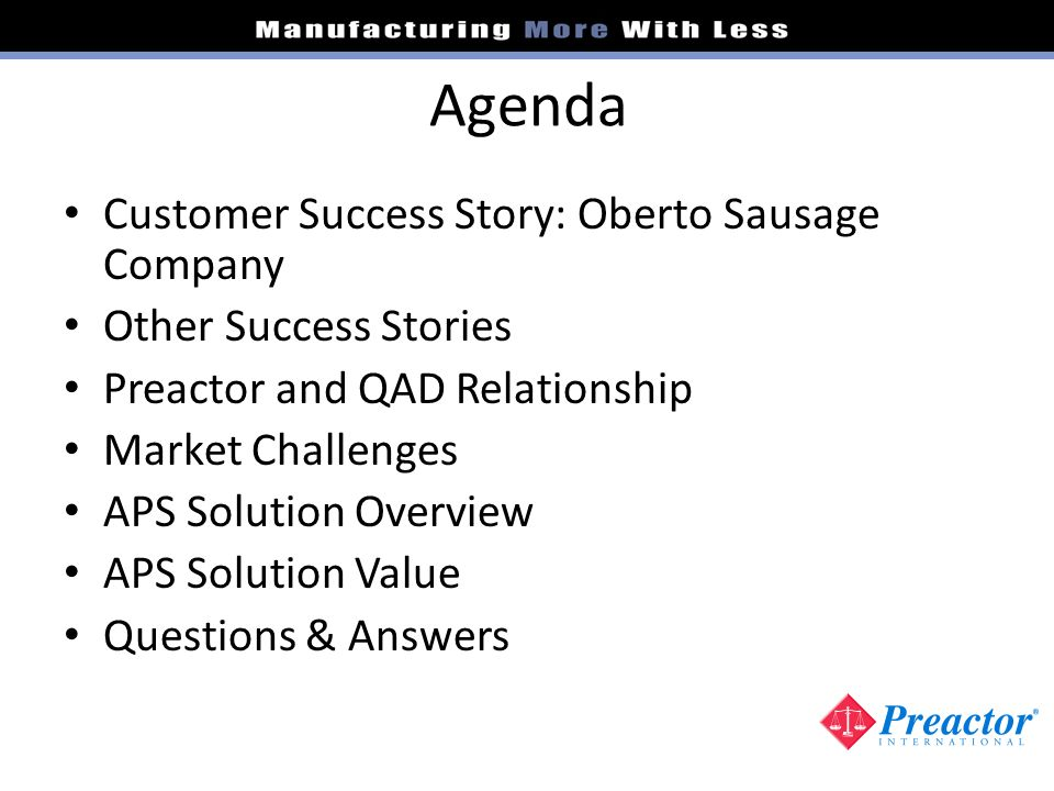 Agenda Customer Success Story: Oberto Sausage Company