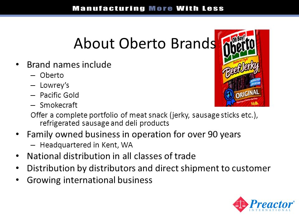 About Oberto Brands Brand names include