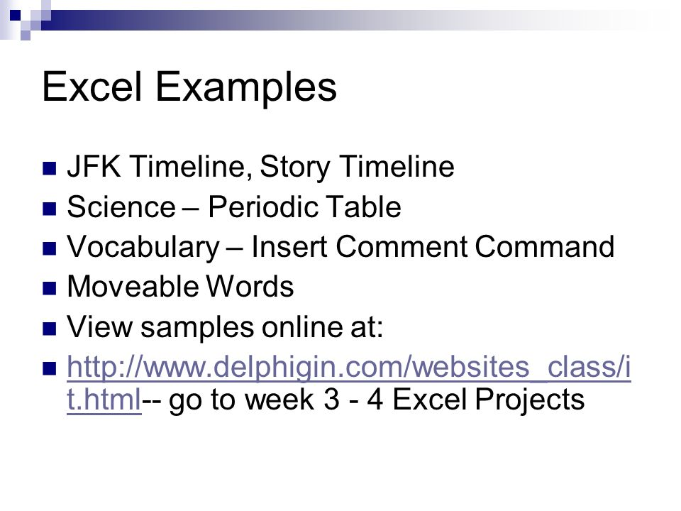 Excel Examples JFK Timeline, Story Timeline Science – Periodic Table