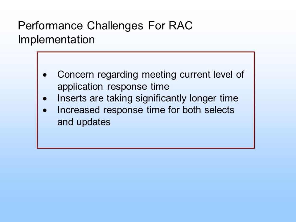 Performance Challenges For RAC Implementation