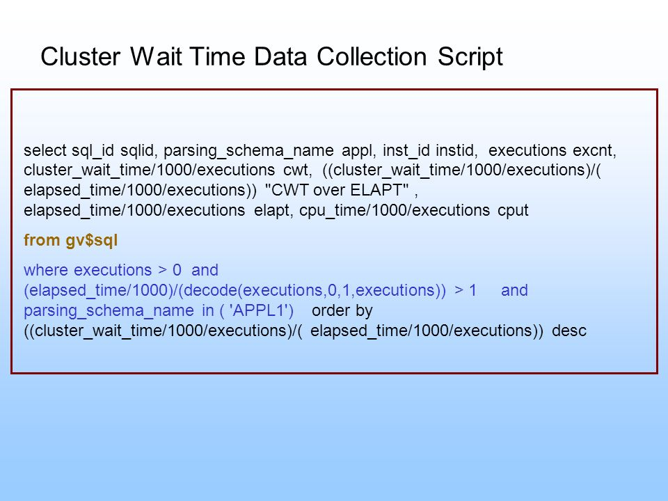 Cluster Wait Time Data Collection Script