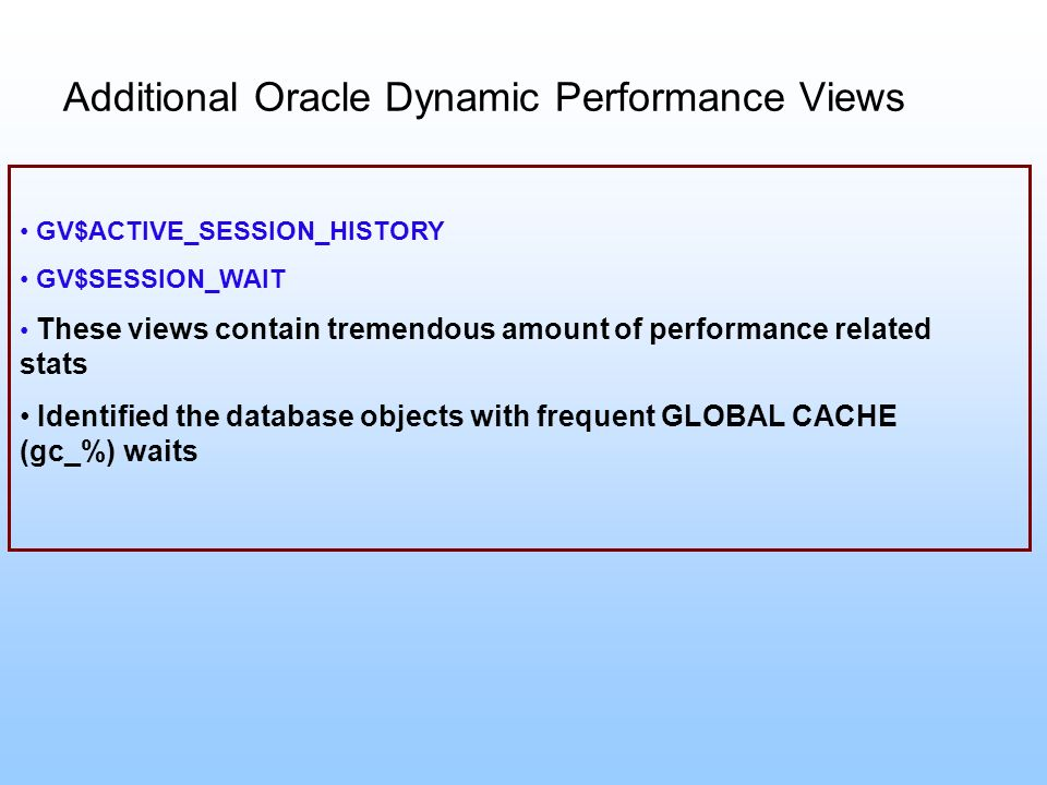 Additional Oracle Dynamic Performance Views