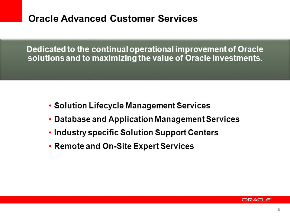 Oracle Advanced Customer Services