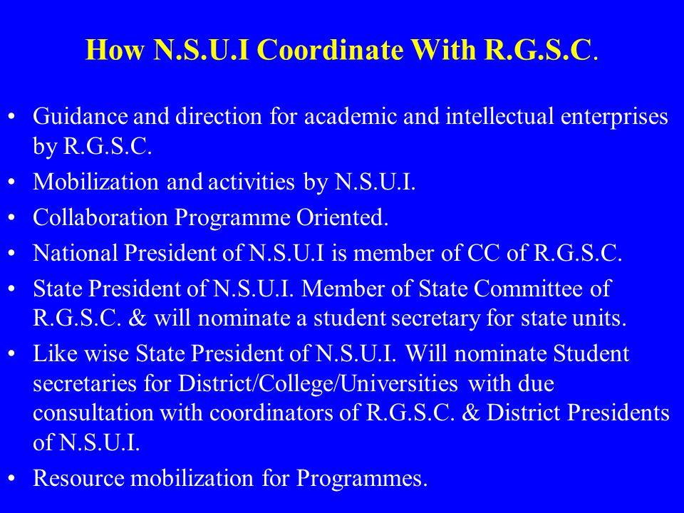 How N.S.U.I Coordinate With R.G.S.C.