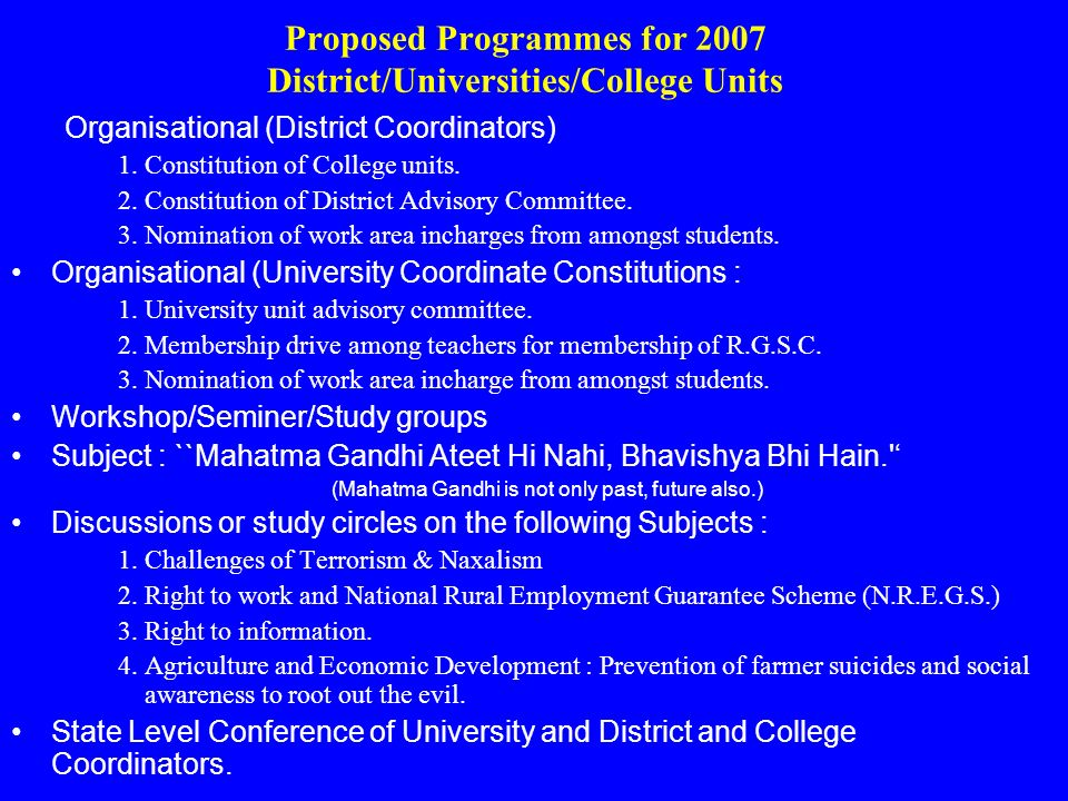 Proposed Programmes for 2007 District/Universities/College Units