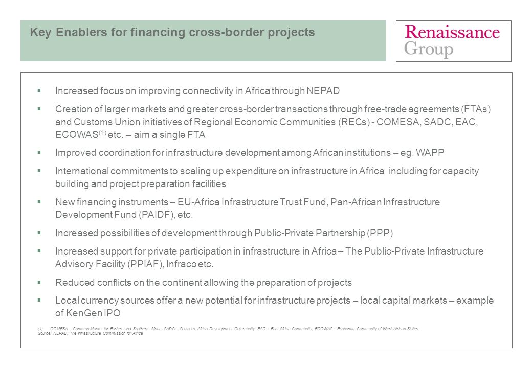 Key Enablers for financing cross-border projects