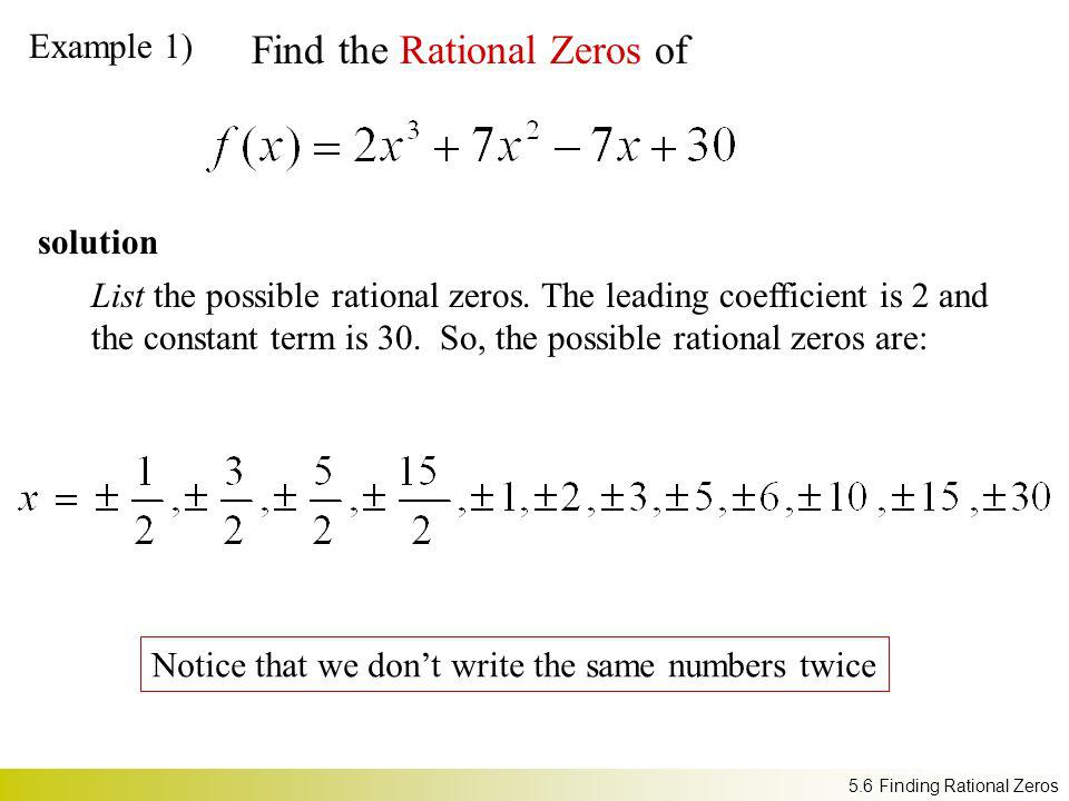 Find the Rational Zeros of