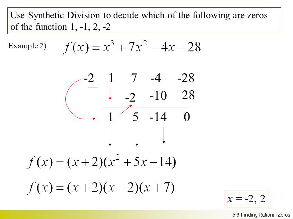 Use Synthetic Division to decide which of the following are zeros of the function 1, -1, 2, -2