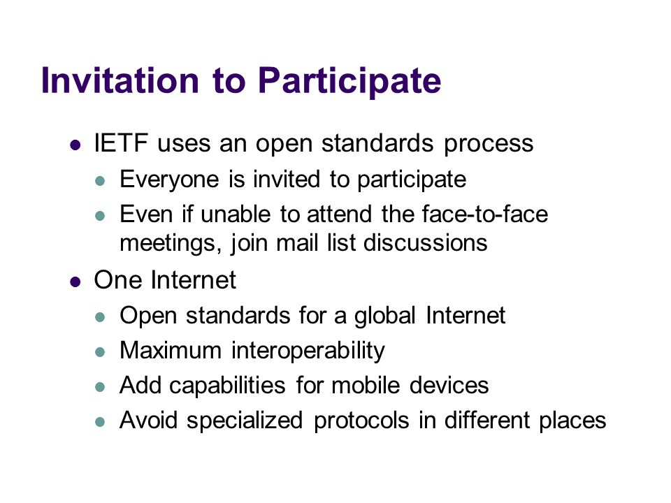 Invitation to Participate