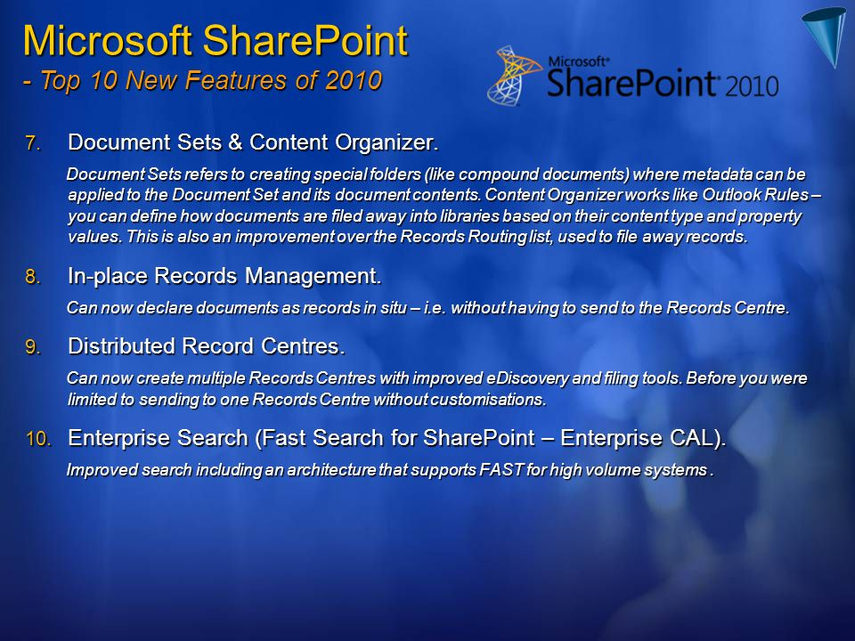 Microsoft SharePoint - Top 10 New Features of 2010
