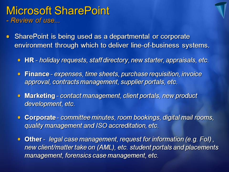 Microsoft SharePoint - Review of use...
