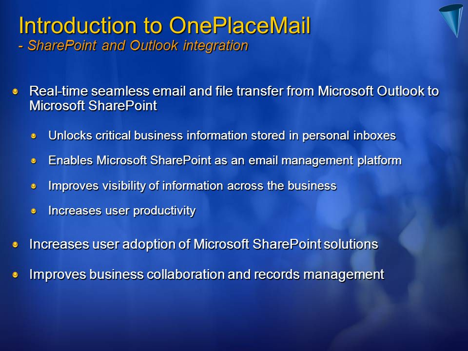 Introduction to OnePlac - SharePoint and Outlook integration