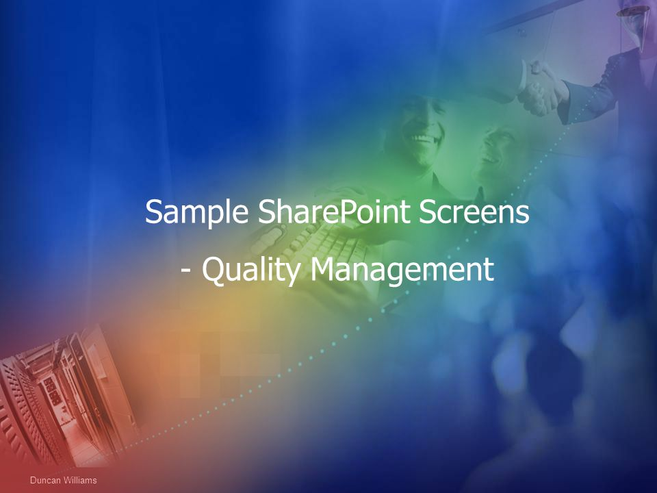 Sample SharePoint Screens