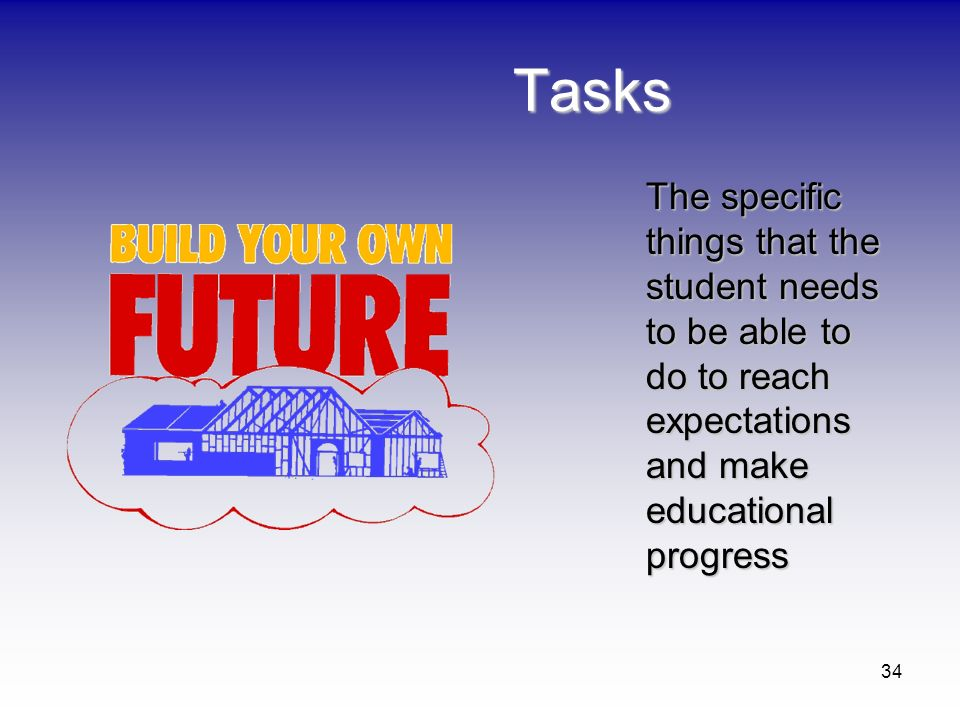 Tasks The specific things that the student needs to be able to do to reach expectations and make educational progress.