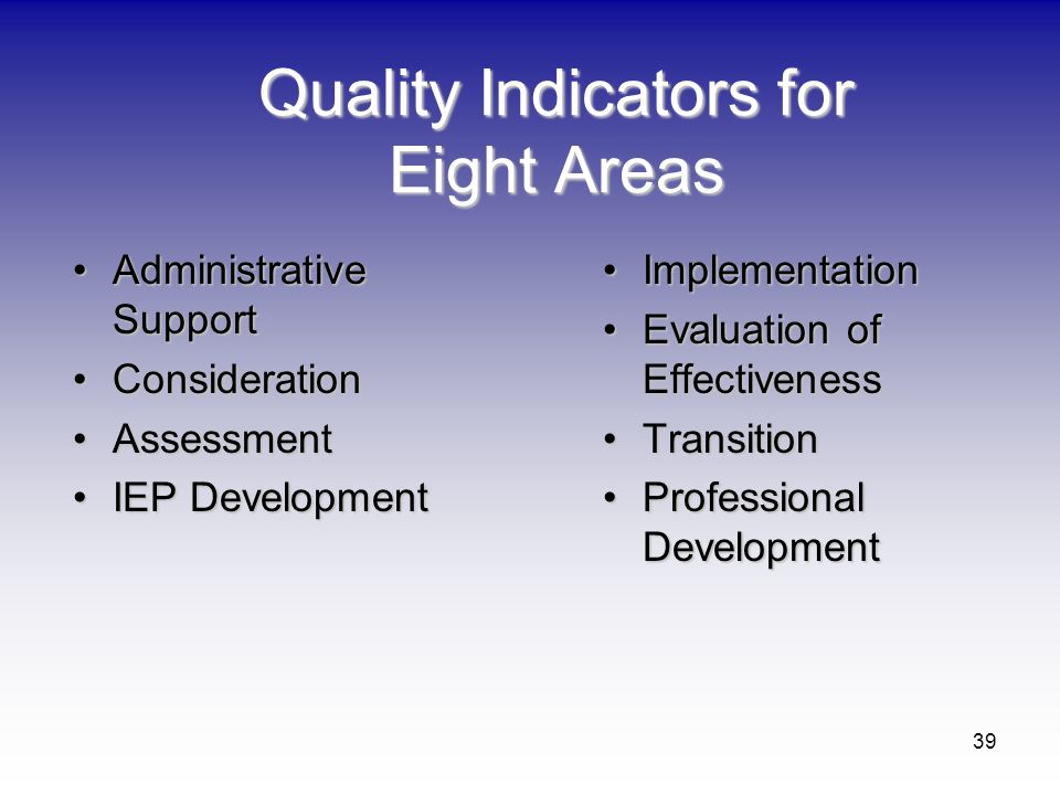 Quality Indicators for Eight Areas