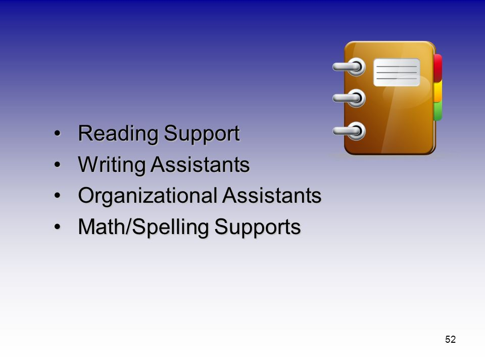 Reading Support Writing Assistants Organizational Assistants Math/Spelling Supports