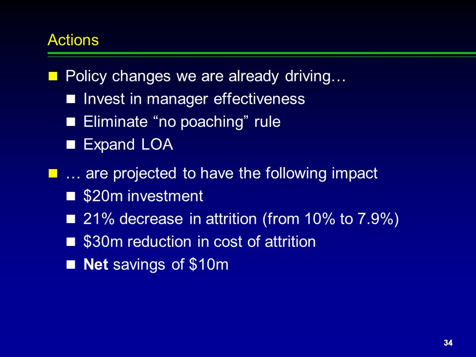 Actions Policy changes we are already driving… Invest in manager effectiveness. Eliminate no poaching rule.