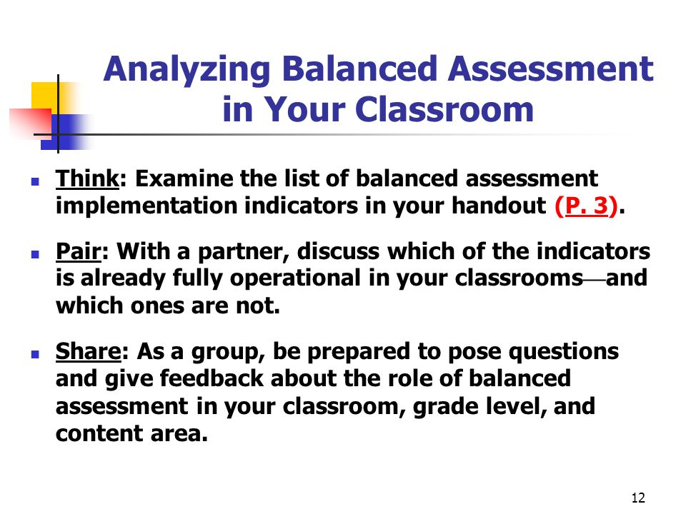 Analyzing Balanced Assessment in Your Classroom