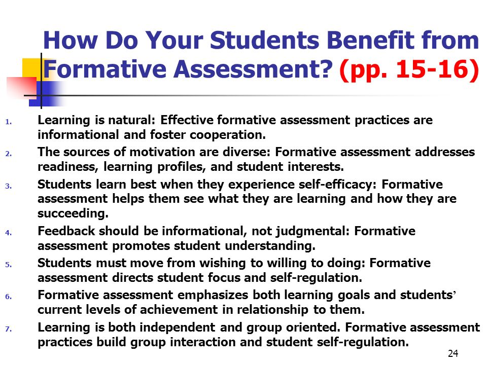 How Do Your Students Benefit from Formative Assessment (pp )