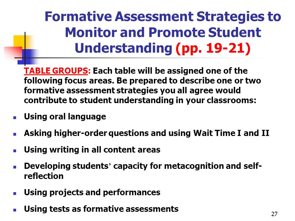 Formative Assessment Strategies to Monitor and Promote Student Understanding (pp. 19-21)